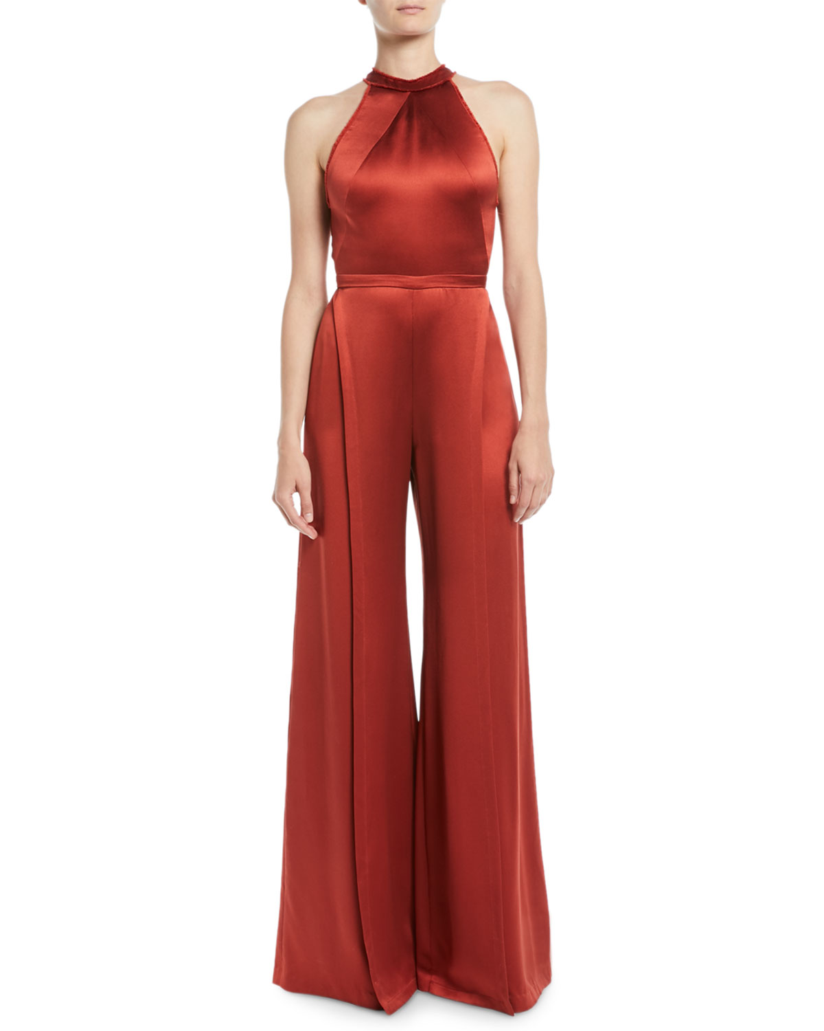 Sanaya Sleeveless Cross-Back Wide-Leg Satin Jumpsuit, Red