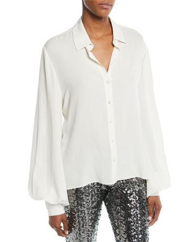 139a165f716db Quick Look. Alexis · Aster Button-Front Long-Sleeve Silk Top. Available in  White