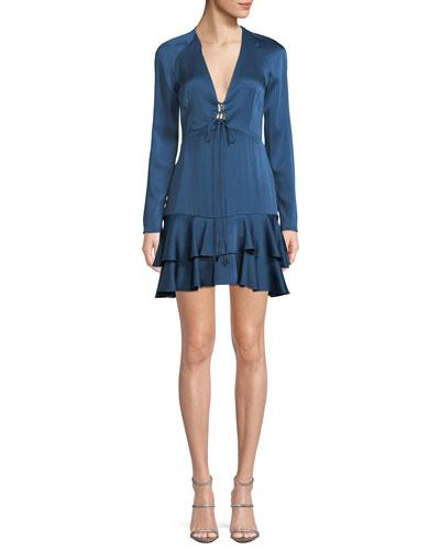 Plunging V Neckline Dress Neiman Marcus