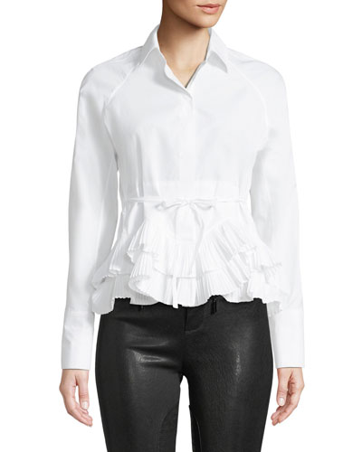 1b704fdbfd647 Quick Look. Alexis · Winton Pleated Ruffle Peplum Top. Available in White