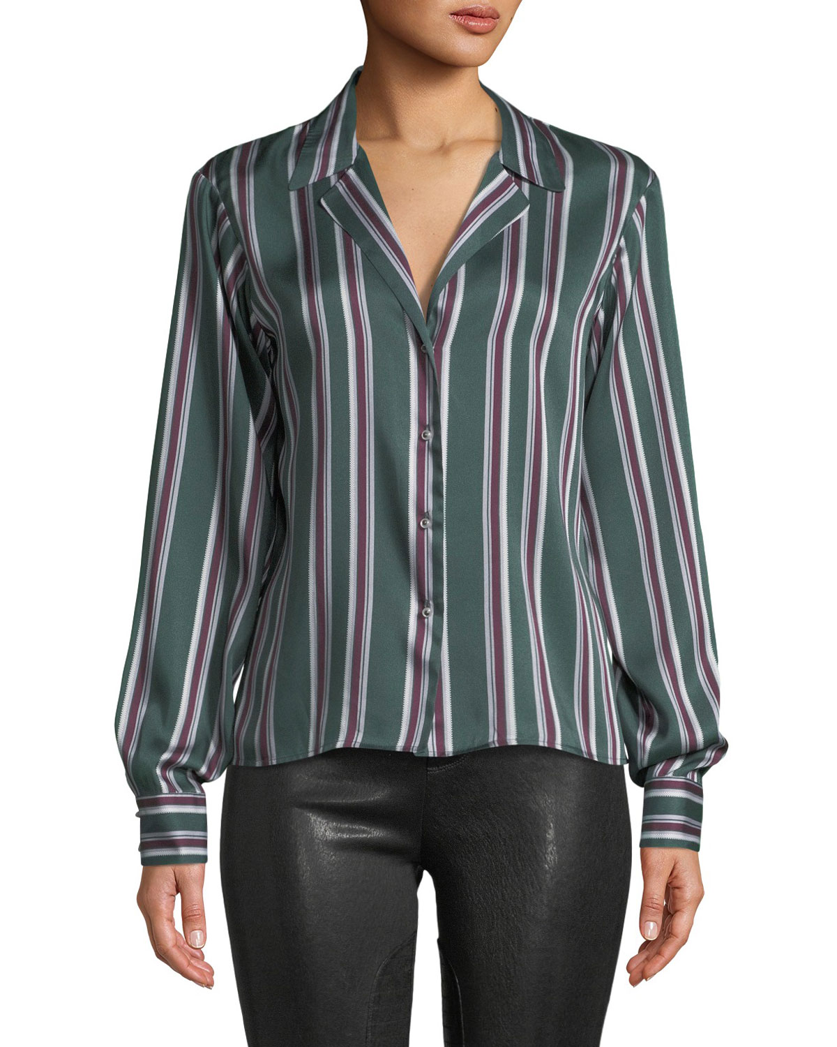 Samwell Striped Button-Front Top