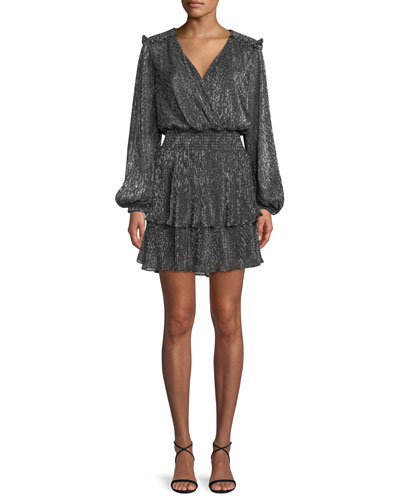 Brianna Tiered Metallic Blouson Mini Dress