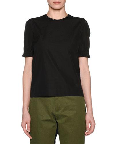 Embellished Scoop-Neck Cotton T-Shirt