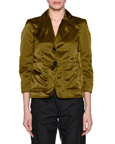 Salvia Quilted Button-Front Blazer Jacket