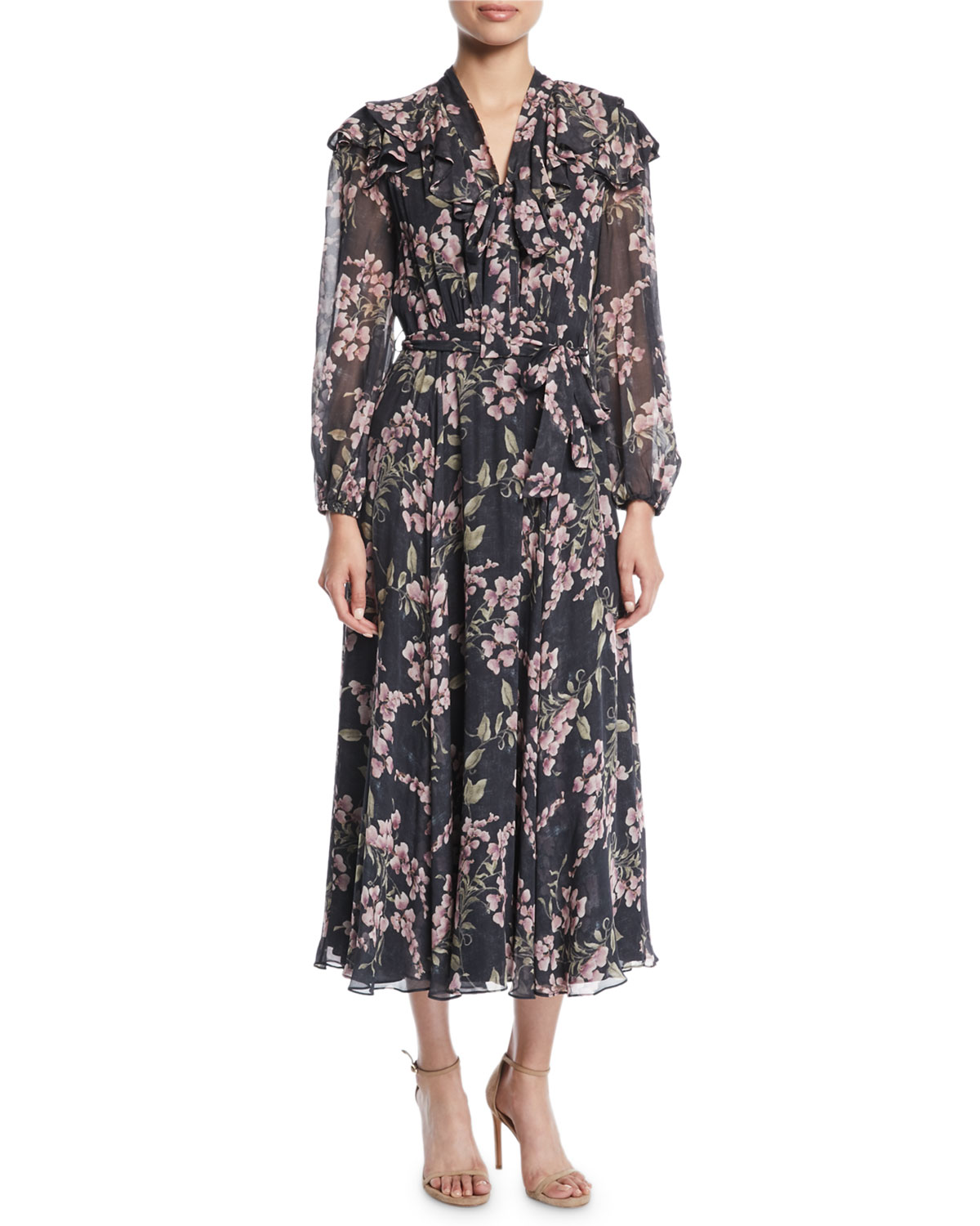 FLEETING FLOUNCE FLORAL LONG-SLEEVE MAXI DRESS