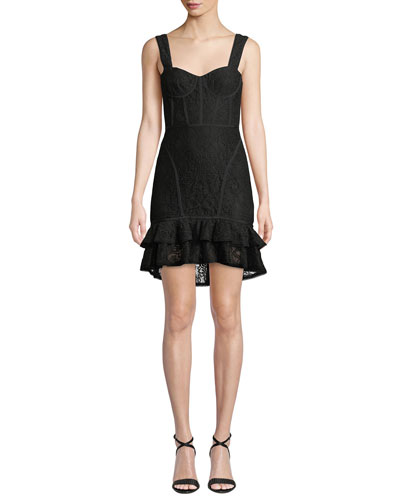 Lace Ruffle-Hem Bustier Dress