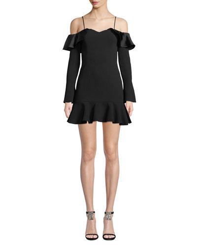 d09954fce35 Quick Look. Jonathan Simkhai · Crepe Sateen Cold-Shoulder Flounce Short  Dress