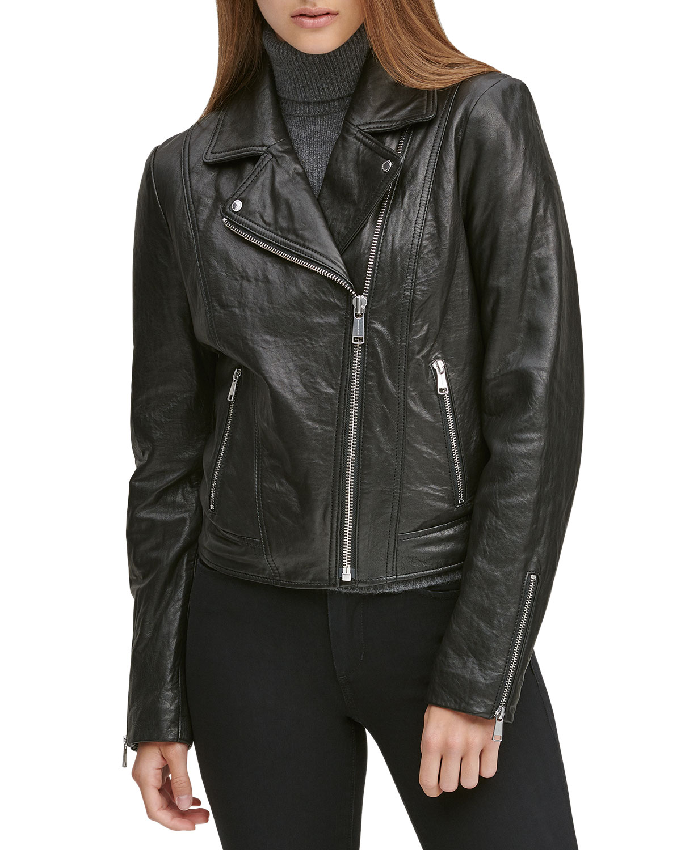 Hastings Soft Leather Moto Jacket, Black