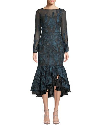 Long-Sleeve Metallic Embroidered Ruffle-Hem Dress