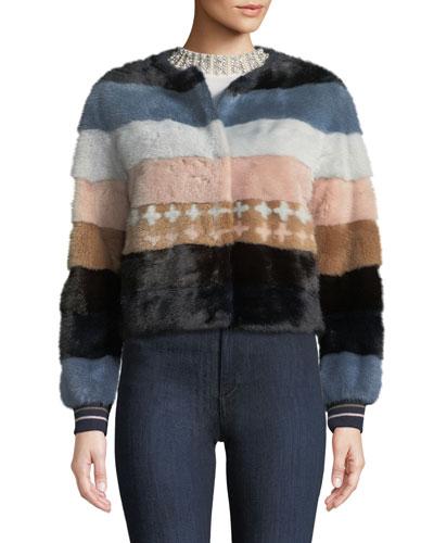 Striped Mink Fur Baseball Jacket