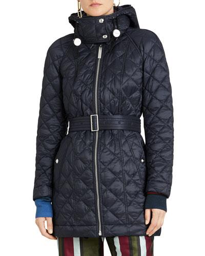 Lightweight Diamond Quilted Coat w/ Detachable Hood