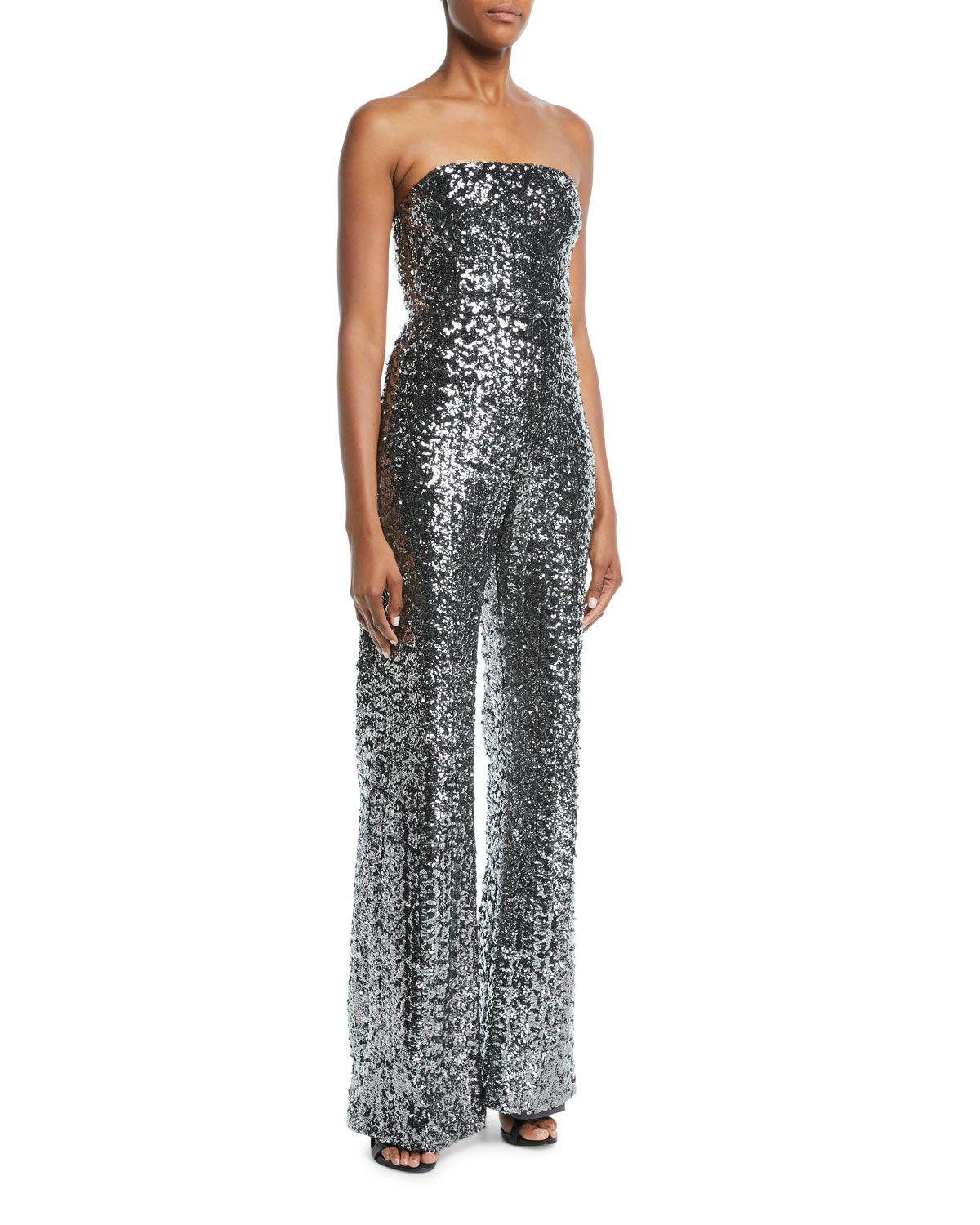 Carleen Sequin Strapless Wide-Leg Jumpsuit, Gray Metallic