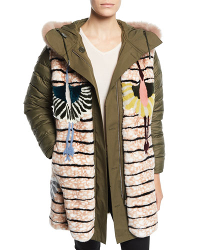 Reversible Intarsia Parka Coat w/ Fur Trim