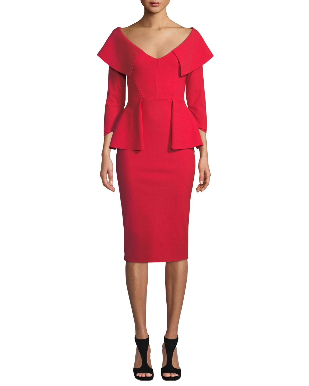 Hande Collared Peplum Dress in Red