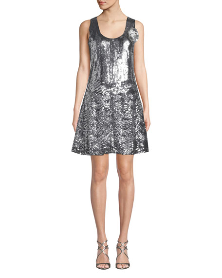MICHAEL Michael Kors Sequined Scoop-Neck Sleeveless Slip Dress