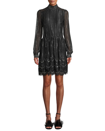 MICHAEL Michael Kors Mock-Neck Long-Sleeve Cinched-Waist Beaded Lace A-Line Dress