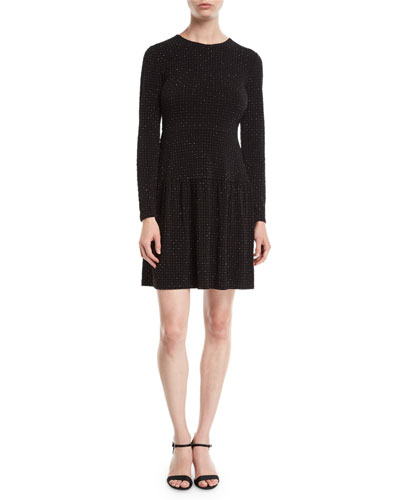 Flocked Long-Sleeve Dress with Shirred Skirt