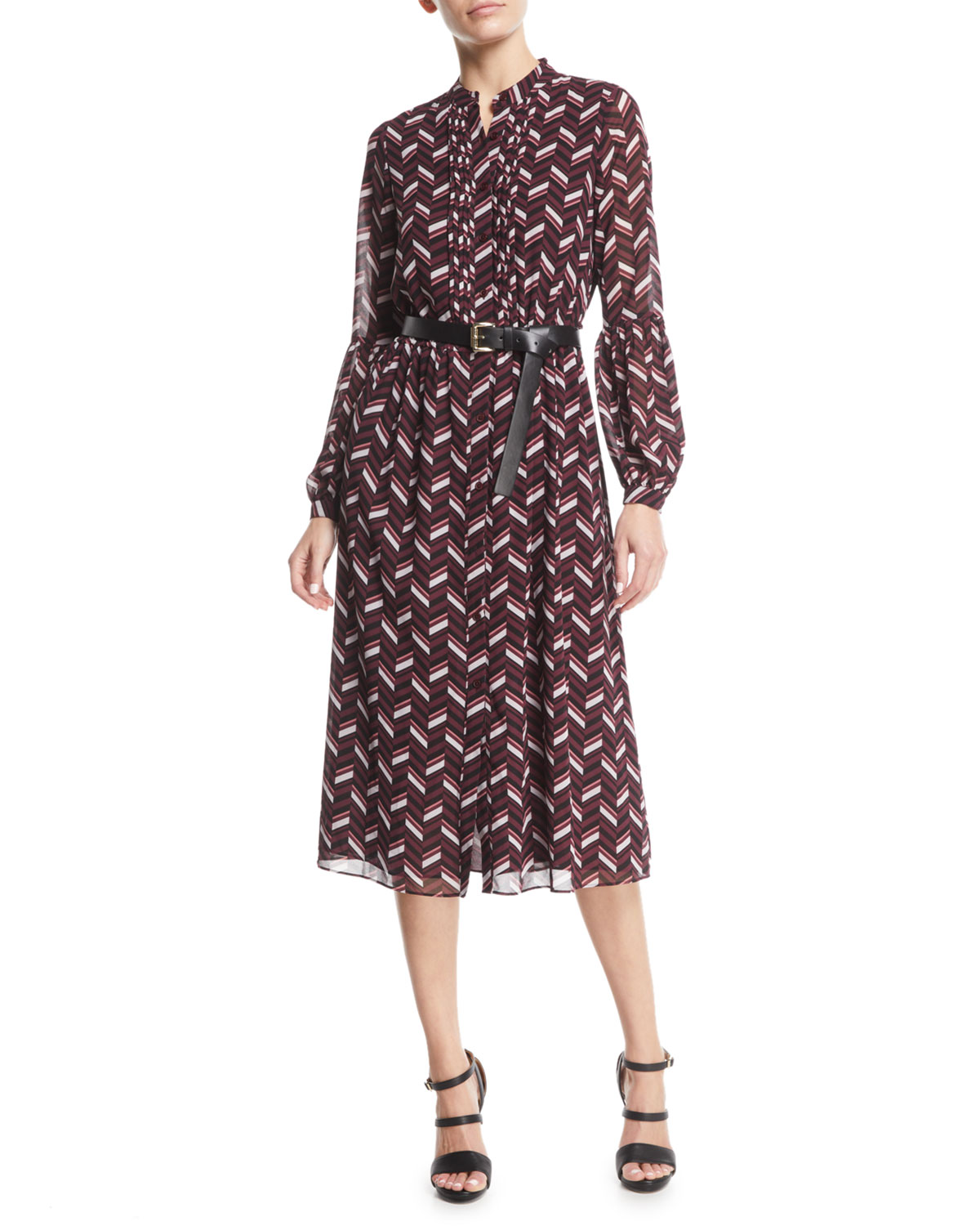 Chevron-Print Georgette Midi Dress With Belt in Purple