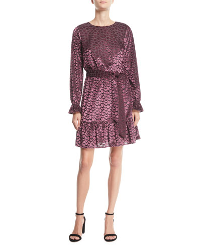Scalloped Velvet Smocked-Cuff Dress
