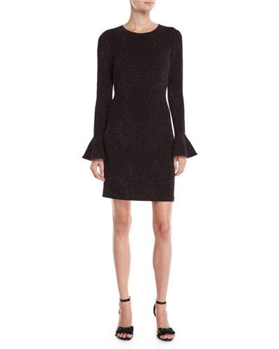 Flounce-Sleeve Metallic Knit Bodycon Dress