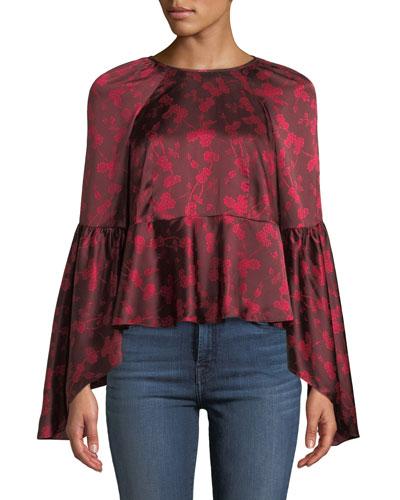 Floral Silk Bell-Sleeve Flounce Top