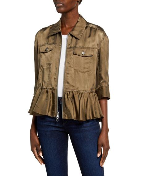 cinq a sept Helene Short-Sleeve Cropped Peplum Jacket
