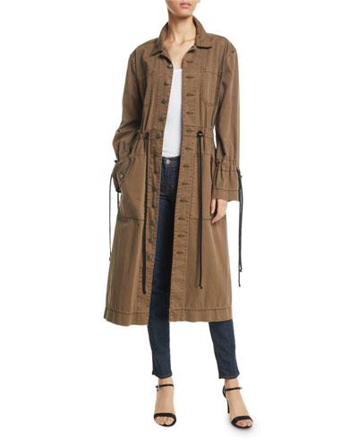 Sophie Button-Front Long Jacket