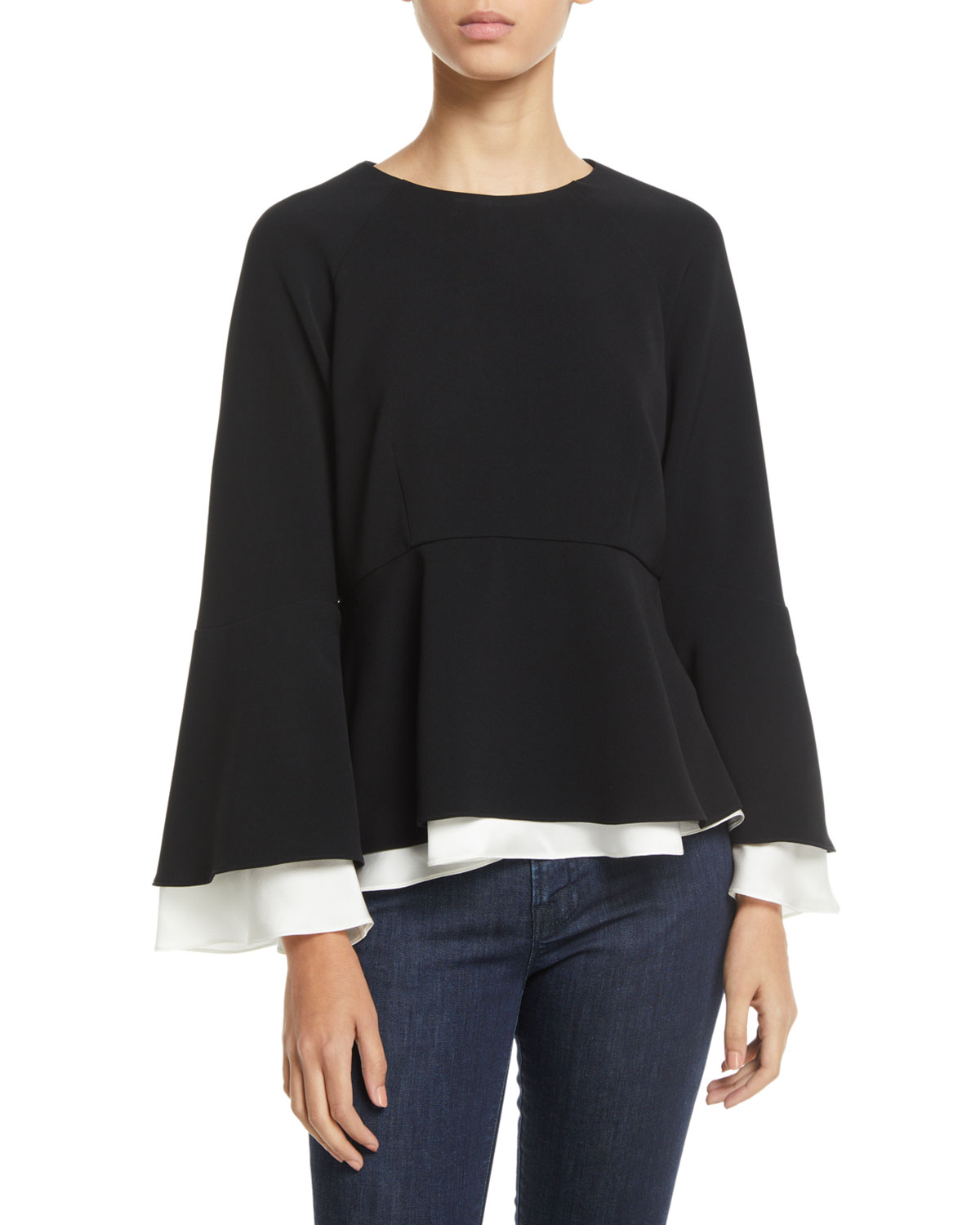 Avalon Crepe Long-Sleeve Layered Top in Blackivory
