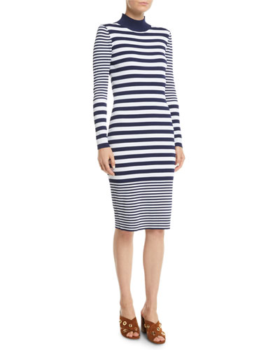 Mock-Neck Striped Bodycon Dress