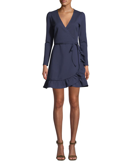 Donna Mizani Kira V-Neck Mini Wrap Dress