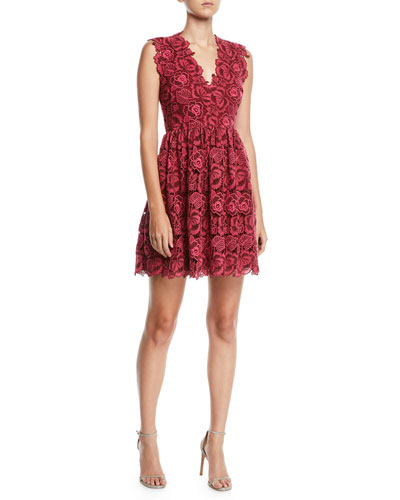bicolor sleeveless lace dress