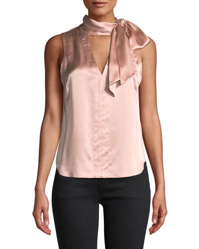 Getaway Tie-Neck Silk Top