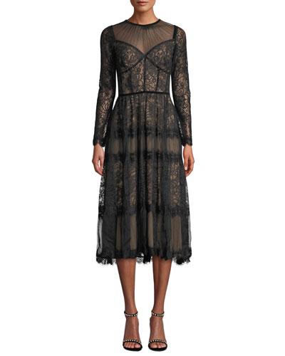 Long-Sleeve Lace & Chiffon Dress