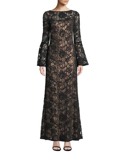 Bell-Sleeve Velvet & Sheer Lace Gown