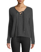 Rails Amelia Lace-Up Wool Long-Sleeve Sweater