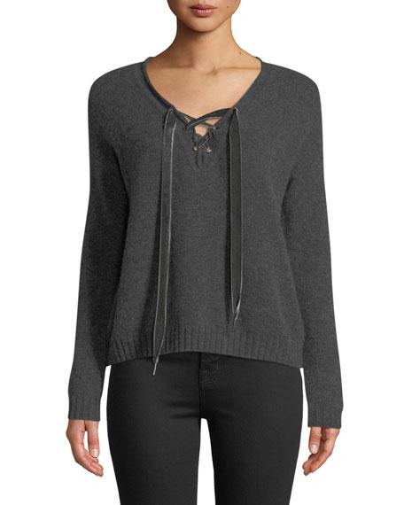 Rails Amelia Lace-Up Wool Long-Sleeve Sweater