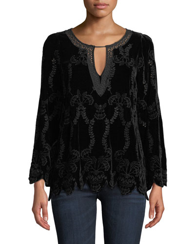 Long-Sleeve Embroidered Velvet Blouse