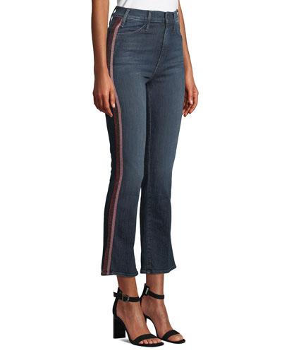 Hustler High-Rise Flare-Leg Jeans with Glitter Stripes