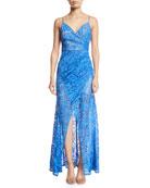 Aijek Lavinia Pleated Lace Maxi Dress