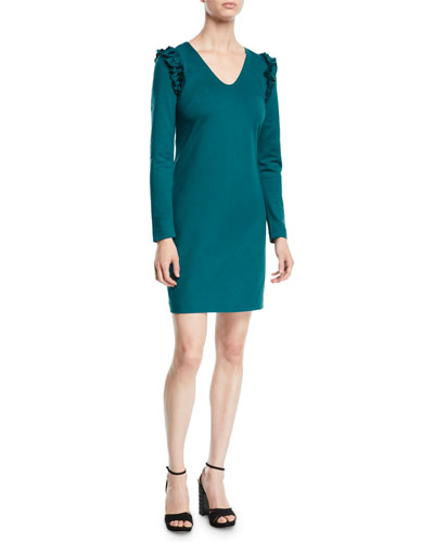 Eleanora Ruffle-Shoulder Long-Sleeve Dress