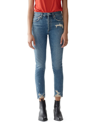 Jamie High-Rise Distressed Skinny Jeans with Chewed Hem