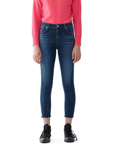 Sophie High-Rise Cropped Raw-Hem Skinny Jeans