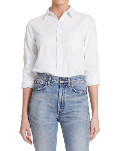 Sofia Slim Classic Button-Front Denim Shirt