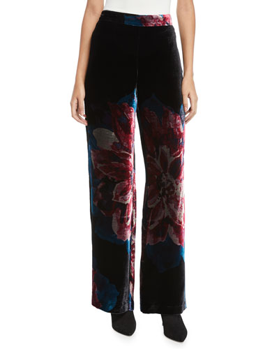 Penelope Floral Velvet Wide-Leg Pants