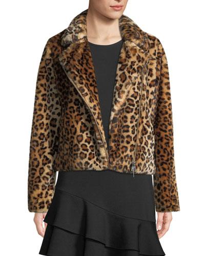 Hudson Leopard-Print Faux-Fur Moto Jacket