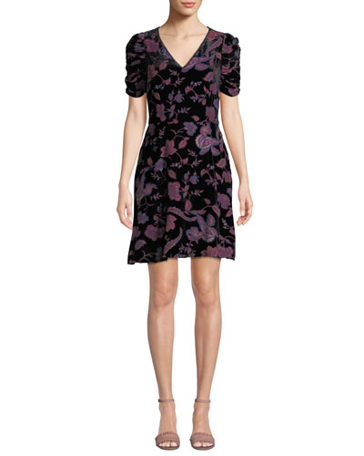 Arlette Printed Velvet Short-Sleeve Dress