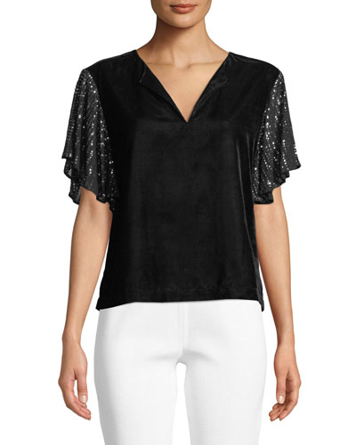 Tibby V-Neck Top with Sequin Sleeves