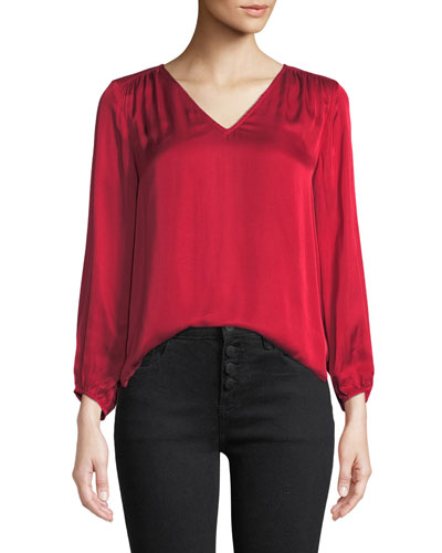 Rohana V-Neck Viscose Long-Sleeve Top