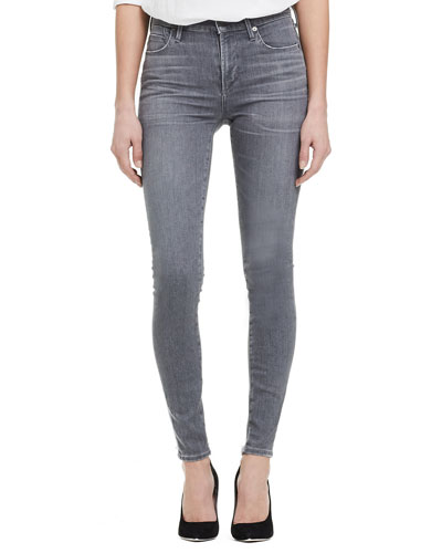 Rocket High-Rise Skinny Jeans, Gray