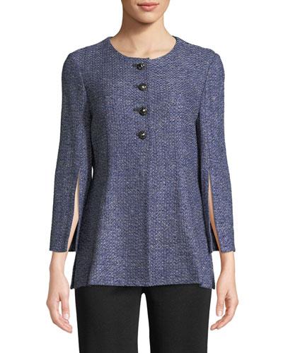 Tweed Button-Front Jacket w/Split Sleeves